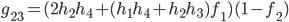g_{23}=(2h_2h_4+(h_1h_4+h_2h_3)f_1)(1-f_2)