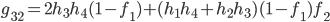g_{32}=2h_3h_4(1-f_1)+(h_1h_4+h_2h_3)(1-f_1)f_2