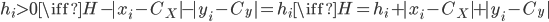 h_i>0 \iff H-|x_i-C_X|-|y_i-C_y|=h_i \iff H=h_i+|x_i-C_X|+|y_i-C_y|