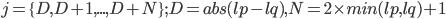 j=\{D,D+1,...,D+N\};D=abs(lp-lq),N=2\times min(lp,lq)+1