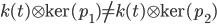 k(t)\otimes \ker (p_1) \neq k(t) \otimes \ker (p_2)