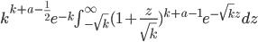 k^{k+a-\frac{1}{2}}e^{-k}\int_{-\sqrt k}^{\infty}(1+\frac{z}{\sqrt k})^{k+a-1}e^{-\sqrt kz}dz