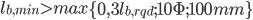 """l_{b,min}>max\left \{ 0,3l_{b,rqd};10\Phi ;100mm \right \}"""" align=""""absmiddle""""></li><li>per ancoraggi in compressione:<img class="""