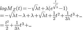 logM_Z(t)=-\sqrt\lambda t+\lambda(e^{\frac{t}{\sqrt\lambda}}-1)\\=-\sqrt\lambda t-\lambda+\lambda+\sqrt\lambda t+\frac{1}{2}t^2+\frac{1}{3\lambda}t^3+...\\=\frac{t^2}{2}+\frac{1}{3\lambda}t^3+...