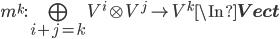 m^k : \bigoplus_{i + j = k} V^i\otimes V^j \to V^k \In {\bf Vect}