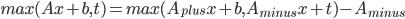 max(Ax+b,t) =max(A_{plus}x +b, A_{minus} x + t) - A_{minus}
