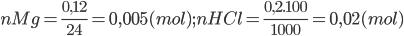 nMg = \frac{{0,12}}{{24}} = 0,005 (mol); nHCl = \frac{{0,2.100}}{{1000}} = 0,02 (mol)