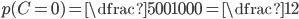 p(C =0) = \dfrac{500}{1000} =\dfrac{1}{2}