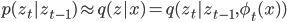 p(z_t|z_{t-1}) \approx q(z|x) = q(z_t|z_{t-1},\phi_t(x))