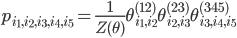 p_{i_1,i_2,i_3,i_4,i_5}=\frac{1}{Z(\theta)} \theta_{i_1,i_2}^{(12)}\theta_{i_2,i_3}^{(23)}\theta_{i_3,i_4,i_5}^{(345)}
