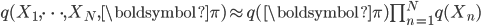 q(X_1,\cdots,X_N,\boldsymbol{\pi}) \approx q(\boldsymbol{\pi})\prod_{n=1}^Nq(X_n)
