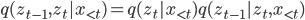 q(z_{t-1},z_t | x_{\lt t}) = q(z_t | x_{\lt t}) q(z_{t-1} | z_t,x_{\lt t})