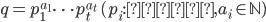 q=p_1^{a_1}\cdots p_t^{a_t}\; (p_i:\mathrm{素数},a_i \in \mathbb{N})