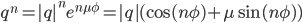 q^n =  q ^n e^{n\mu \phi} =  q (\cos(n\phi) + \mu \sin(n\phi))