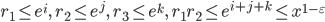 r_1\leq e^i,\quad r_2\leq e^j,\quad r_3\leq e^k,\quad r_1r_2\leq e^{i+j+k}\leq x^{1-\varepsilon}