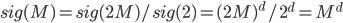 sig(M) = sig(2M) / sig(2) = {(2M)}^d / {2}^d = {M}^d