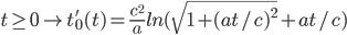 [cht]t \geq 0 \rightarrow t'_0(t)=\frac{c^2}{a}ln(\sqrt{1+(at/c)^2}+at/c)[/cht]