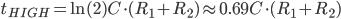 t_{HIGH}=\ln(2)C\cdot (R_1+R_2)\approx 0.69C\cdot (R_1+R_2)