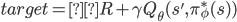 target = R + \gamma Q_\theta (s',\pi^*_\phi(s))