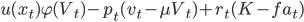 u(x_t)\varphi(V_t)-p_t(v_t-\mu V_t)+r_t(K-fa_t)
