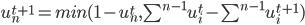 u_n^{t+1} = min(1-u_n^t,\sum^{n-1} u_i^t -\sum^{n-1} u_i^{t+1})