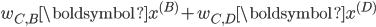 w_{C, B}\boldsymbol{x^{(B)}} + w_{C, D}\boldsymbol{x^{(D)}}