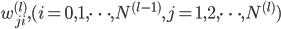 w_{ji}^{(l)}, (i = 0, 1, \cdots, N^{(l - 1)}, j = 1,2, \cdots, N^{(l)})
