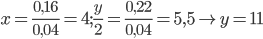 x = {{0,16} \over {0,04}} = 4;{y \over 2} = {{0,22} \over {0,04}} = 5,5 \to y = 11