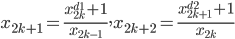 x_{2k+1} = \frac{x_{2k}^{d1}+1}{x_{2k-1}}, x_{2k+2} = \frac{x_{2k+1}^{d2}+1}{x_{2k}}