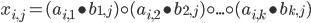 x_{i,j} = (a_{i,1} \bullet b_{1,j}) \circ (a_{i,2} \bullet b_{2,j}) \circ ... \circ (a_{i,k} \bullet b_{k,j})