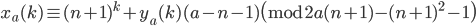 x_a(k) \equiv (n+1)^k+y_a(k)(a-n-1) \pmod{2a(n+1)-(n+1)^2-1}