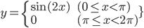 y = \left { \begin{array}{ll} \sin(2x) \qquad & (0 \le x \lt \pi) \\ 0 & (\pi \le x \lt 2\pi)\end{array}
