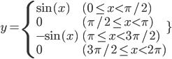 y = \left { \begin{array}{ll} \sin(x) \qquad\qquad & (0 \le x \lt \pi/2) \\ 0 & (\pi/2 \le x \lt \pi) \\ -\sin(x) & (\pi \le x \lt 3\pi/2) \\ 0 & (3\pi/2 \le x \lt 2\pi)\end{array}