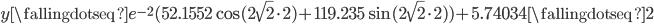 y \fallingdotseq e^{-2}(52.1552\cos (2\sqrt{2} \cdot 2) + 119.235\sin (2\sqrt{2} \cdot 2))+5.74034 \fallingdotseq 2