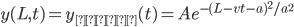 y(L,t)=y_{入射}(t)=Ae^{-(L-vt-a)^2 /a^2}