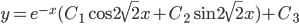 y=e^{-x}(C_{1}\cos 2\sqrt{2} x + C_{2}\sin 2\sqrt{2} x)+C_{3}