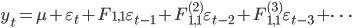 y_{t} = \mu + \varepsilon_{t} + F_{1,1} \varepsilon_{t-1} + F_{1,1}^{(2)} \varepsilon_{t-2} + F_{1,1}^{(3)} \varepsilon_{t-3} + \cdots
