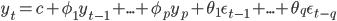 y_{t}=c+\phi_{1}y_{t-1}+...+\phi_{p}y_{p}+\theta_{1}\epsilon_{t-1}+...+\theta_{q}\epsilon_{t-q}