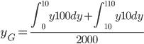 y_G= \displaystyle \frac{\int_0^{10}  y 100dy+\int_{10}^{110}  y 10dy}{2000}