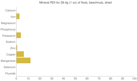 Mineral RDI for 28.4 grams of Nuts, beechnuts, dried
